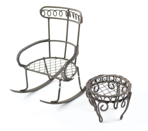 Touch of Nature Garden Rocking Chair with Round Table, Mini, Rustic