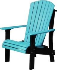 Poly Furniture Wood Senior Height Delux Adirondack Chair – Amish Made USA – Blue