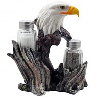 Bald Eagle Glass Salt & Pepper Shakers with Decorative Figurine Display Stand Set for American Patriotic Bar and Kitchen Decor Sculptures or Rustic Lodge Restaurant Tabletop Decorations and Wildlife Bird Gifts