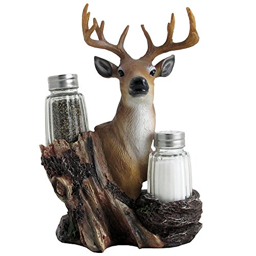 Rustic Deer Glass Salt and Pepper Shaker Set with Decorative Big Buck Holder in Kitchen Spice
