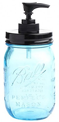 Vintage Blue 100th Anniversary Ball Pint Mason Jar with Black Lid and Black Soap Pump