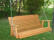 4′ Cedar Porch Swing W/stained Finish, Amish Crafted – Includes Chain & Springs