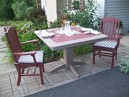Poly Lumber Wood Patio Set- 44″ Square Table and 4 Classic Chairs with Arms- Amish Made USA