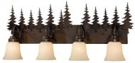 Vaxcel USA VL55504BBZ Yosemite 4 Light Rustic Bathroom Vanity Lighting Fixture in Bronze, Glass