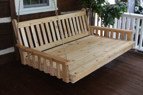 Outdoor 6′ Traditional English Swing Bed – Oversized Porch Swing *Unfinished Pine* Amish Made USA