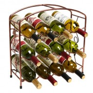 Modern Rustic Bronze Design Freestanding Metal 12 Bottle Wine Storage Shelf Rack / 3 -Tier Wine Holder