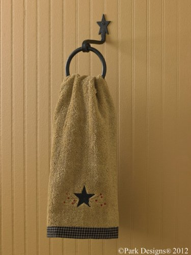Black Iron Star Ring Hook Towel Holder Country Primitive Home Décor