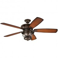 Westinghouse 7800000 Brentford Indoor/Outdoor Five-Blade Reversible Ceiling Fan with Clear Seeded Glass, 52-Inch, Aged Walnut Finish