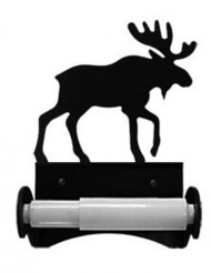 Iron Traditional Style Moose Toilet Roll Tissue Holder – Black Metal