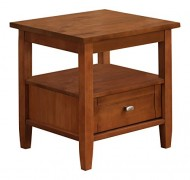 Simpli Home Warm Shaker End Table, 20″ x 18″, Honey Brown