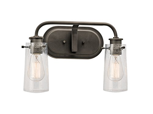 Kichler 45458OZ Braelyn 2-Light Vanity Fixture and Clear Seedy Glass, Olde Bronze Finish