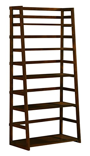 Simpli Home Acadian Ladder Shelf Bookcase, Rich Tobacco Brown
