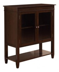 Simpli Home Carltonn Storage Media Cabinet and Buffet, Medium, Dark Tobacco Brown