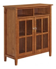 Simpli Home Warm Shaker Medium Storage Cabinet, 39″W x 42″H, Honey Brown