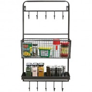 Country Rustic All-in-1 Wall Mounted Black Metal Wire Kitchen Spice Rack & Cookware Hanger / Entryway Mail Sorter Basket & Coat Hooks / Bathroom Toiletries Bin & Towel Hanger