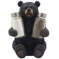 Decorative Black Bear Glass Salt and Pepper Shaker Set with Display Stand Holder Figurine Sculpture for Rustic Lodge and Cabin Kitchen Table Decor Centerpieces & Spice Rack Decorations or Teddy Bear Gifts