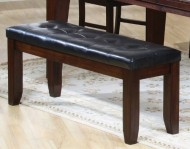 Coaster Bench with a Leather-Look Seat, 48-Inch, Dark Oak