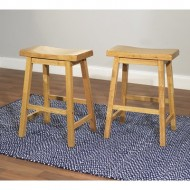 TMS 24-Inch Belfast Saddle Stool, Rustic Oak, Set of 2