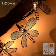 LIDORE® 10 Counts Metal Dragonfly Patio String Light (Warm white)
