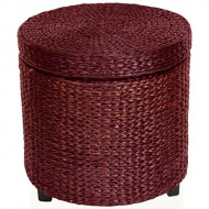 Oriental Furniture Great Unique Asian Design End Table, 17-Inch Woven Water Hyacinth Rattan Style Round Lidded Foot Stool Basket, Red Brown
