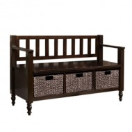 Simpli Home Dakota Entryway Storage Bench w/ 3 Hyacinth Baskets, Dark Brown