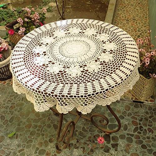 Ustide Rustic Cotton Table Cloth Round Handmade Crochet Tablecloths Beige Covers Decoration