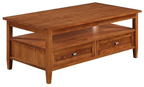Simpli Home Warm Shaker Coffee Table, 48″W x 18″H, Honey Brown