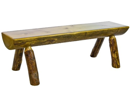 Montana Woodworks Glacier Country Collection Half Log Bench, 4-Feet