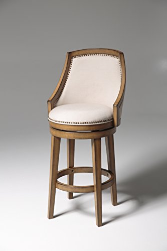 Fashion Bed Group C1X100 Charleston Wood Bar Stool with Putty Upholstered Nailhead Trim Swivel-Seat and Acorn Frame Finish, 30-Inch