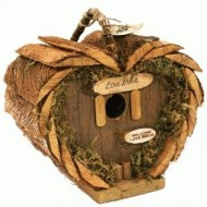 "Rustic Wood Heart-Shaped Birdhouse With ""Love Shack"" Plaque Sign 7.75″"