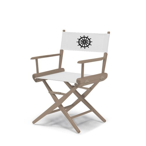 Telescope Casual World Famous Dining Height Director Chair, Rustic Grey Finish with Marine White and Black Motif Cover