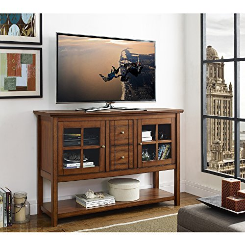 WE Furniture Rustic Wood Console Table TV Stand, 52″, Brown