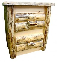 Midwest Log Furniture – 2 Drawer Northern Rustic Pine Log Nightstand