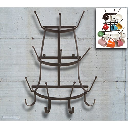 Vintage Rustic Brown Metal Wall Mounted 14 Hook Bottle U0026 Mug Storage  Organizer Tree Drying Rack