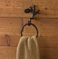 Pine Lodge Brown Iron Branch Pinecone Ring Hook Towel Holder Country Primitive Wall Décor