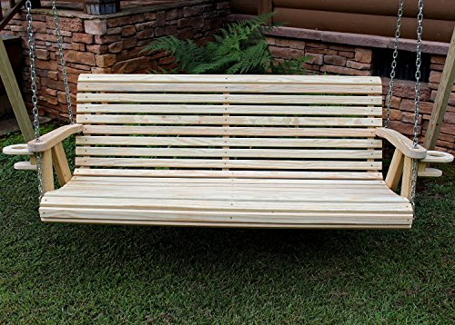 ROLL BACK Amish Heavy Duty 700 Lb 5ft. Treated Porch Swing With Cupholders – Made in USA