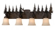Vaxcel USA VL55404BBZ Bryce 4 Light Rustic Bathroom Vanity Lighting Fixture in Bronze, Glass
