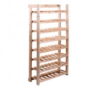 HomCom Classic Rustic Wood 8 Tier 120 Bottle Wooden Wine Rack