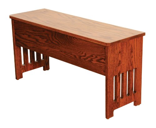 Mission Bench with Storage Solid Oak Wood – Amish Custom Handmade Pick Your Own Stain – 3 Feet – Brown Maple Wood Available for Same Price, Upcharge for Cherry, Maple, Painted, Quartersawn Oak, Rustic Cherry, Rustic Quartersawn, Distressed