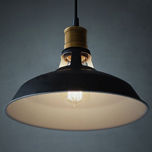 Smart & Green Lighting, Industrial Metal Pendant Light, Antique Style Lampshades fit for Edison Bulb, Kitchen Light Fixtures,black