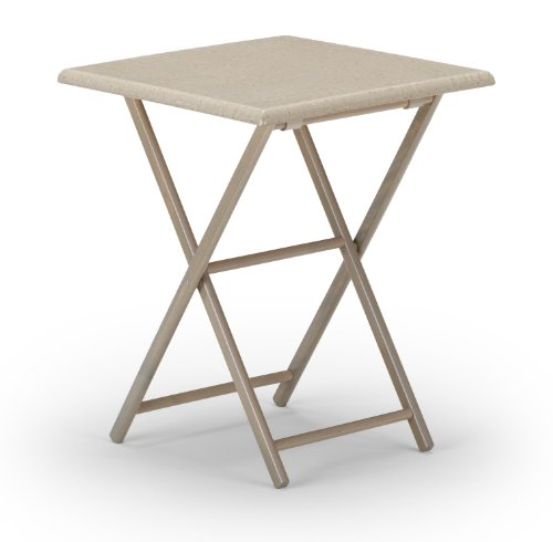 Telescope Casual 24-Inch Square Wood Accessory Table, 30-Inch Height, Rustic Grey Base with Rustic Weave Top