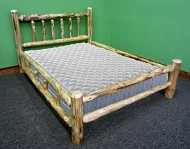 Midwest Log Furniture – Queen Rustic Pine Log Bed