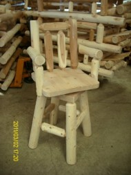 White Cedar Log Bar Stool with Arms