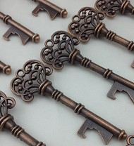 40PCS Bottle Openers Copper Wedding Favors Rustic Decoration Alice In Wonderland
