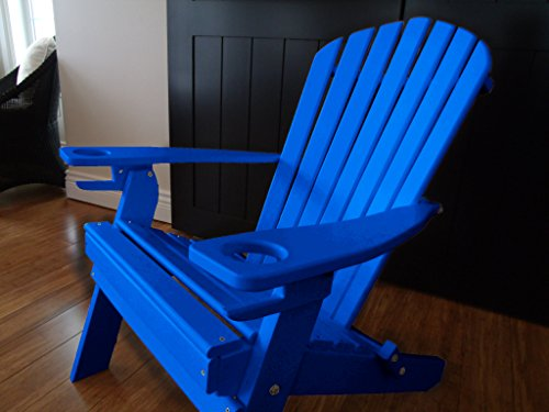 NEW DELUXE 7 SLAT BLUE Poly Lumber Wood Folding Adirondack Chair with 2 CUP HOLDERS- Amish Made USA