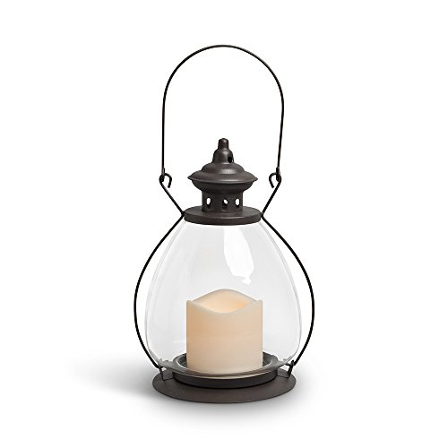 Gerson Everlasting Glow 42465 Battery Operated Metal and Glass School House Lantern with 3 by 3″ LED Resin Candle, 9.25″, Rustic Brown