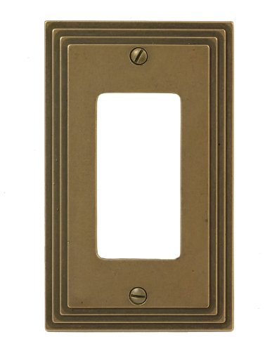 Amerelle 84RRB Steps Cast Metal Wallplate, Rustic Brass