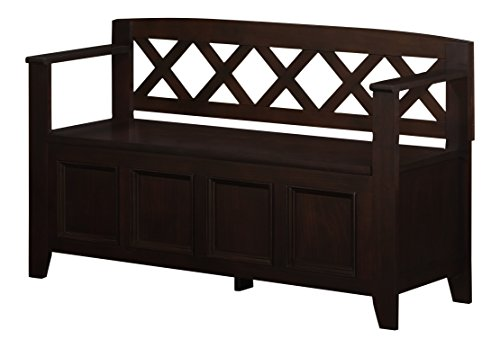 Simpli Home Amherst Entryway Storage Bench, Dark Brown