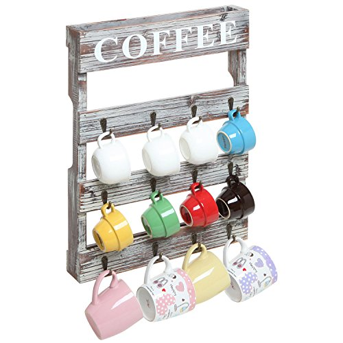 Country Rustic Style Brown Wood 12 Hook Wall Mounted Coffee Mug Rack / Tea Cup Holder Storage Organizer