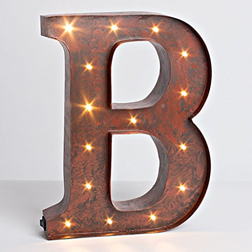 "12″ – Rustic Brown – Metal – Battery Operated – LED – Lighted Letter ""B"" 